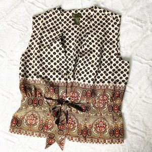 Anthropologie Fei Vest Silk Top Holiday Design